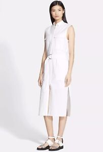 NWT Helmut Lang Optic White Belted Bellow Poplin Dress Size 2