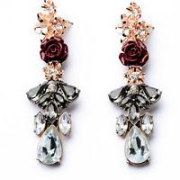 1Pair Elegant Women Red Rose Black Resin Crystal Ear Stud Eardrop Dangle Earring