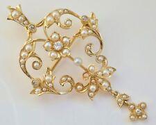 Antico Periodo edoardiano 15 kt Gold Diamond & Pearl Set Collana Con Ciondolo Spilla c1905