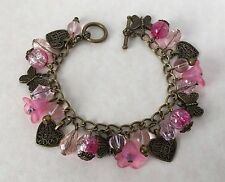 Vintage Style Pink Glass Bead Charm Bracelet Antique Bronze Hearts Butterflies