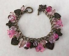 Estilo Vintage Rosa Perla de cristal Pulsera de Dijes Bronce Antiguo Corazones Mariposas