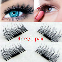 3D Magnetic False Eyelashes Natural Eye Lashes Extension Handmade 4 Pcs/1 Pair