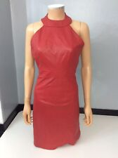 House Of Holland NEW Red 100% Leather Halter Neck Dress Size 34 Uk 6 Us4 BNWTS