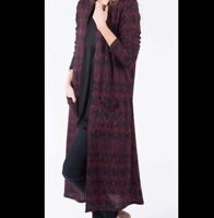 Agnes and Dora Duster Red Berry Black Womens Size M/L NWT