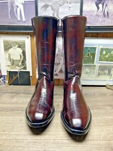LUCCHESE REGAL SHAFT CLASSICS HANDMADE 12.5E BLACK CHERRY GOAT COWBOY BOOTS