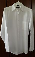 DKNY Men's 100% Cotton Classic Fit Shirt Solid White Standard Cuff M 15 34/35
