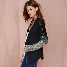 New Shine Silver Black Ladies 's Sequin Coat Long Sleeve Suit Slim Blazer Jacket