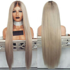 Synthetic Lace Front Grey Ombre Wig Long Straight Wig 26 inch costume women wigs