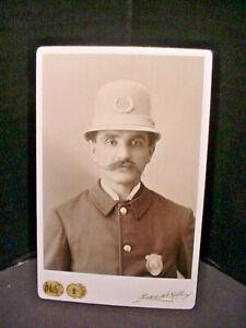 Policeman Cabinet Photograph In Uniform 1880-1890's Columbus Ohio Great Mustache