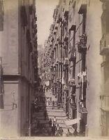 Italia Napoli Rue Grandoni Di Chiaia Foto Vintage Albumina c1880
