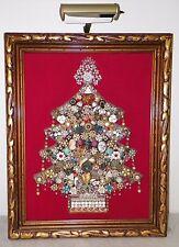 VINTAGE RHINESTONE COSTUME JEWELRY CHRISTMAS TREE PICTURE FRAMED W LAMP LIGHT