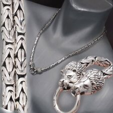 """22"""" 113g LION KING BALI BYZANTINE 925 STERLING SILVER MENS NECKLACE CHAIN PRE"""