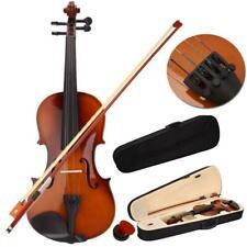 More details for 3/4 size students acoustic violin w/ case bow rosin bridge natural color