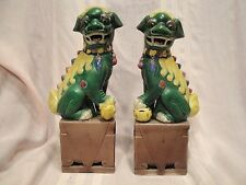 Beautiful Antique Estate Famille Verte Pair of Chinese Foo Dogs 19th Century