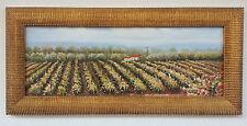 Dipinto Olio su Tela con Cornice - 37x81 cm - Paesaggio di Campagna - Quadro