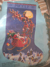 "Bucilla Christmas Needlepoint Stocking Kit,TO ALL A GOODNIGHT,Rossi,18"",60708"