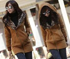Leopard Coat Hoodie Sweatshirt Women Tops Jacket Sweater Pullover Long Outwear