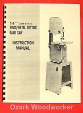 """JET/Asian JBS-14 14"""" Metal/Wood Band Saw Operator's & Parts Manual 0385"""