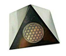 Schungit & Shungit Pyramide 7 x 7 cm. mit Symbol  poliert / Zertifikat