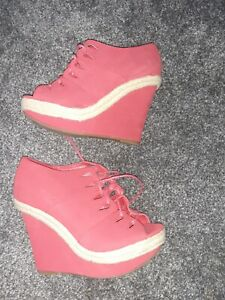 Lovely Red Lace Up Wedges Size 7 Atmosphere summer peep toe