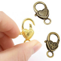 Jewelry Clasp Connectors Findings 10pcs Heart Shaped Lobster Hooks End Charms
