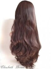 Layers Med Light Brown Mix Long Wavy Curly 3/4 Wig Hairpiece Half Wig 043