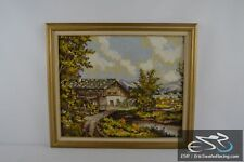"""House by the Lake Framed Cross Stitch Needlepoint 29x25"""""""