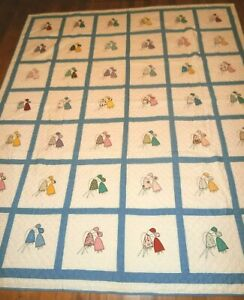 """Vintage Hand Appliqued Floral Quilt 82"""" x 94"""" Summer light weight, Beautiful!"""
