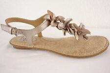 Born BOC Gold Leather Ankle Sandals Flats Shoes Thongs Flowers Women's 10 42