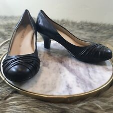 Audrey Brooke Sz 11 M Black Leather Pump Career Heels Connie