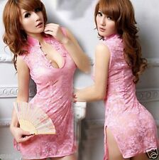 Pink Racy Ladys sexy lingerie nightdress Lace Hollow Dress sexy game uniforms
