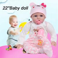 "22"" Silicone Vinyl Reborn Doll Lifelike Baby Boy Newborn Doll Kids Xma"