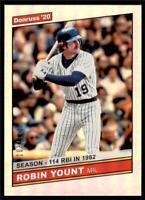 2020 Donruss Retro 1986 Season Stat Line #233 Robin Yount /114 Milwaukee Brewers