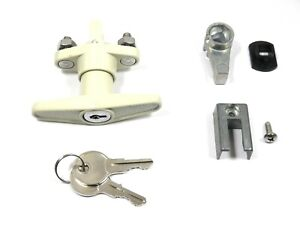 NEW KEYED T-HANDLE HURRICANE ACCORDION SHUTTER LOCK (IVORY)