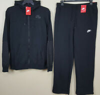 NIKE AIR BASKETBALL FLEECE SWEATSUIT HOODIE + PANTS BLACK NEW (SIZE XL / LARGE)