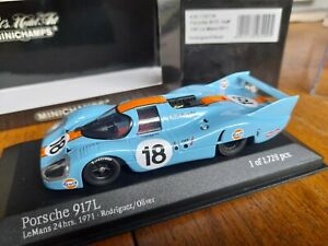 Rare Minichamps 1:43 Diecast Model 1971 Porsche 917K Le Mans Gulf Livery, MIB
