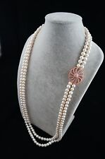 36/37 inches 8-9mm Double-Strand White Freshwater Pearl Necklace with Ornament