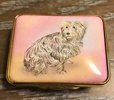 Halcyon Days Hand Painted Tiger Lilly Yorkshire Terrier Dog Enamel Pill Box