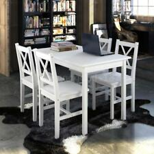 Wooden Table With 4 Wooden Chairs Furniture Set White Dining Room New N6L6