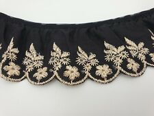 """Broderie Anglaise Gathered Lace Black & Gold Trim 2.5 """" 65mm"""