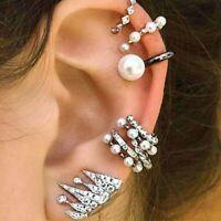 9PCS/Set BOHO Pearl Ear Clip Ear Cuff Stud Crystal Ear Earrings Jewelry Wedding