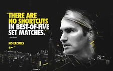 ROGER FEDERER RARE NO EXCUSES ATP TOUR AUSTRALIAN OPEN 2018 TENNIS POSTER