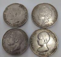 Lote de cuatro monedas de 5 pesetas Alfonso XII Alfonso  XIII varios años  plata