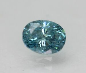 Cert 0.33 Carat Vivid Blue VS2 Oval Enhanced Natural Loose Diamond 4.82x3.78mm