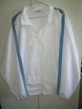 Sfida Size 18 Jacket Lined Long Sleeve White Blue Trim Zipper Front Sports