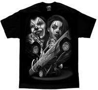 DGA David Gonzales Art Straight Clowning Mask Urban Punk Tattoo Biker Mens Shirt