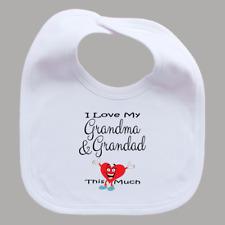 I Love My Grandma & Grandad This Much Baby Feeding Bib with Funny Heart Boy Girl