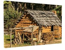 ALASKAN LOG CABIN CANVAS PICTURE PRINT WALL ART CHUNKY FRAME LARGE 1835-2
