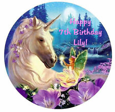 UNICORN HORSE & FAIRY Edible ICING Party Birthday Cake Decoration Topper Image