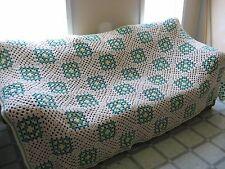 WOW! Hand Crochet Granny Square Afghan Blanket Throw 93 x 64 Cream Green Yellow